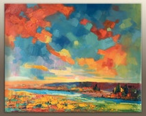 Landscape Painting, Oil Painting Landscape, Large Abstract Art, Contemporary Art, Abstract Canvas Art, Wall Decor, Tuscany Landscape