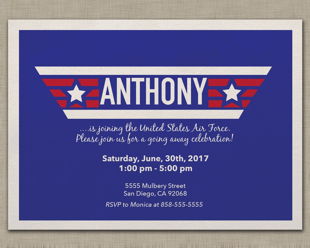 Air Force Invitation Going Away Bootcamp Deployment – Deployment Party Invitations