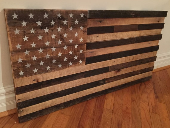 Reclaimed pallet american flag wall art 42 wide x - American flag pallet art ...