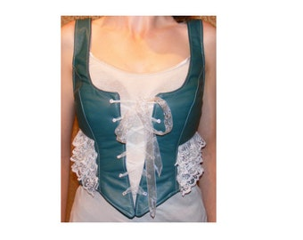 Green Genuine Leather Bustier with Lace