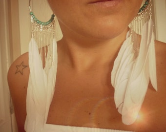 WHITE WATERFALL feather earrings