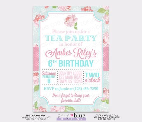 Shabby Chic Birthday Invitation Girl Tea Party Invite Baby Shower