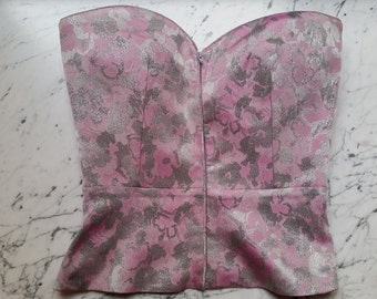 Vintage Valentino - Pink and silver brocade Corset - IT size 40