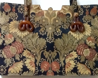 Vintage LG Tapestry Purse / By Lewis / 1960's / Retro / High Fashion /  Mid Century / Boho / LG Purse / Abstract /  Hipster / Top Handle