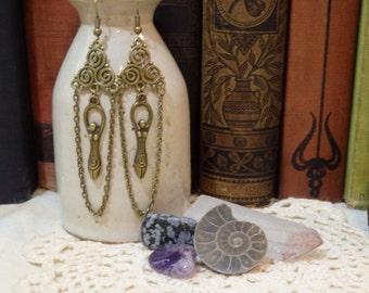 Triple Spiral Goddess Earrings, bronze tone.