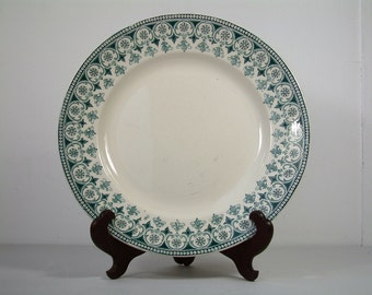 Antique french ironstone teal green transferware large round serving platter. Teal transferware. French transferware. Christmas serving