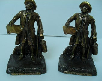 Brass Town Crier Bookends Made in the USA by Philadelphia Mfg Co