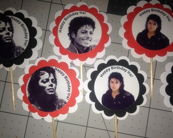 Michael Jackson Party Cupcake Toppers CUSTOM Birthday PERSONALIZED Retirement Fan