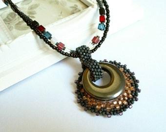 Black Circle Necklace, Circle Pendant, Disc Necklace, Disc Pendant, Hematite Jewellery, Beaded Jewelry, Black Pendant, Hematite Jewelry