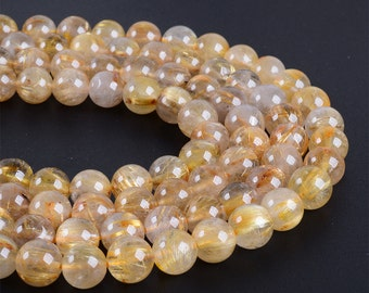 8mm156 Gold Rutilated Quartz round ball loose gemstone beads 16""