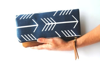 FOLDOVER CLUTCH, Arrow bag, everyday casual clutch,  leather clutch, fold over clutch, iPad sleeve, kindle case