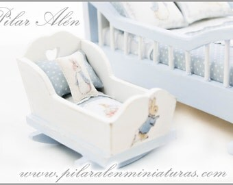 Cradle for nursery room, Suitable for 1/12 and 1/24 scale. Dollhouse miniature. One inch scale.
