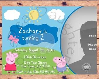 Peppa Pig George Pig  Birthday Invitation Boy or Girl Printable invite