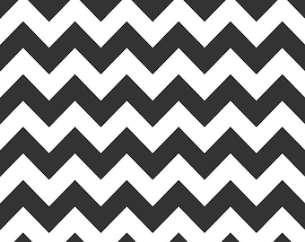 Medium Black Chevron - 1 Yard - Riley Black Cotton Fabric C320-110 BLACK