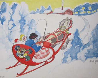 Original Aina Stenberg Artist Signed Postcard - Swedish Family Takes A Sleigh Ride - Free Shipping