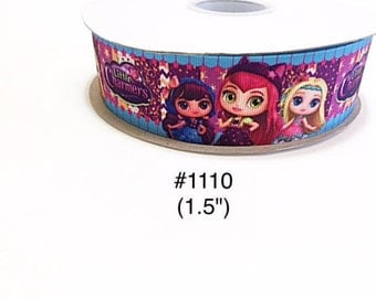 "2/3/5 yard - 1.5"" Little Charmer Girls and Friends Purple Grosgrain Ribbon Hair bow"