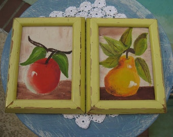 Chippy Paint Pear and Apple , Vintage, Used and A must have for you Cottage FRENCH Chic Kitchen!!!