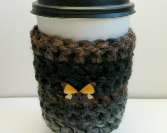 Coffee Cup Sleeve Cozy Take Out Coffee Cup Sleeve Cozy Crocheted Coffee Cup Sleeve Cozy Brown Coffee Cup Sleeve Cozy Grey Take Out Cup Cozy