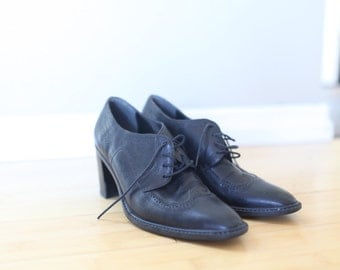 vintage black leather lace up oxfords wingtips heels womens 6