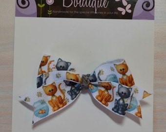 Boutique Style Hair Bow - Cats