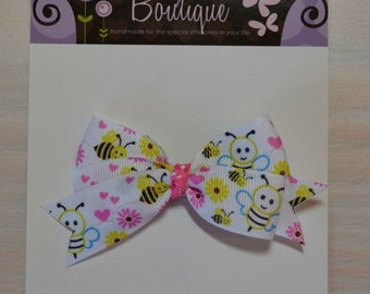 Boutique Style Hair Bow - Bees, Flowers
