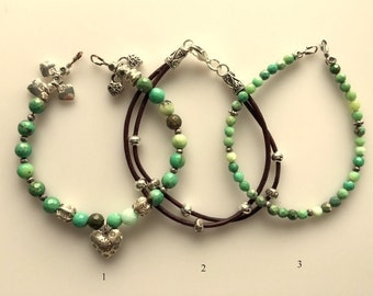 Chrysoprase and Leather Bracelet Trio - Hill Tribe Silver - Custom Finished for You