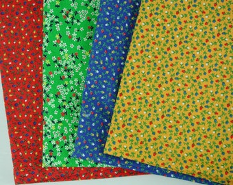 Cotton Fabric Remnants - 4 pieces primary colors