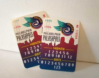 Philadelphia Phlashpass tickets, vintage Philadelphia Phlashpass tickets, set of 2, 1995-1996, Phlash Pass, vintage bus tickets