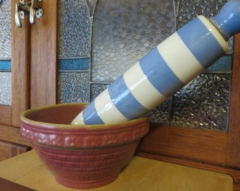 Antique Rolling Pin Ceramic Made in England  //  Ends Screw On and Off  //  Blue and White Striped