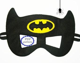 PDF PATTERN Batman felt mask Superhero sewing tutorial instruction Black Yellow DIY Halloween costume accessory boy girl adult Dress up play
