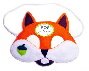 PDF PATTERN Squirrel felt mask sewing tutorial instruction DIY handmade orange forest animal costume accessory boy girl adult Dress up play