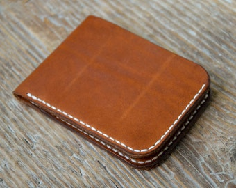 Leather wallet, veg tan leather, minimal cash cards holder, hand stitched,  for men & women