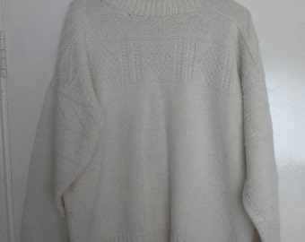 hand knitted white wool jumper