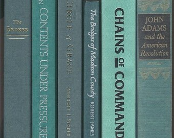 Books By The Half Foot, Lot of 5-6 hardcover books in shades of aqua, aqua green, aqua blue, turquoise instant Library Staging wedding decor
