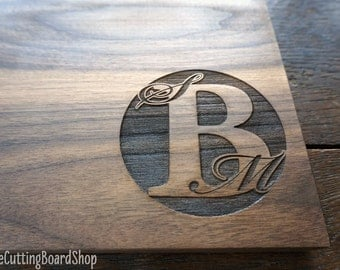 Monogrammed Cutting Board Modern Minimalist Style Wedding Present For The Couple House Warming Party Hostess Gift Birthday Gift for Him Her