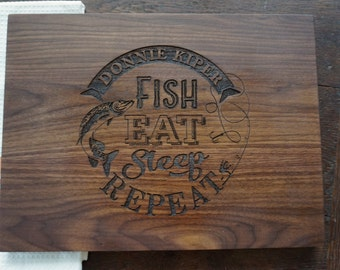 Personalized Fishing Cutting Board Gift for the Fisherman Anniversary Fathers Day Wedding Gift Fish Eat Sleep Repeat Chopping Board Present