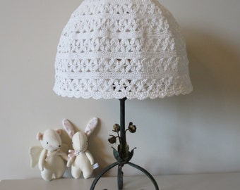Vintage white crochet lamp shade