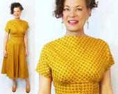 1940s Dress / 40s Dress / 1940s Day Dress / 40s Day Dress / Cotton Dress / Yellow Dress / Novelty Print Dress / 1950s Dress / 50s Dress