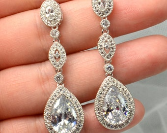 Silver Wedding Jewelry Bridal Earrings Crystal Tear Drop Earrings Bridal Crystal Clear  White Gold Cubic Zirconia Earrings -