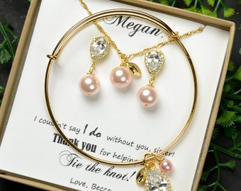 Gold Bridal Earrings Soft Pink Blush Pearl Earrings Cubic Zirconia  Silver Post Wedding Jewelry Bridesmaid Gift Pastel Rose Jewelry