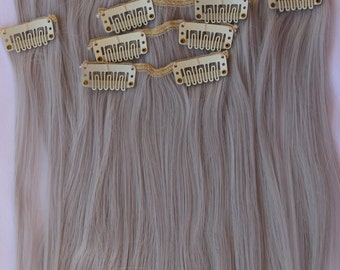 "26"" Grey Hair Extensions, Halloween Hair, Clip in Extensions, Unicorn, Cosplay, Mermaid Hair, Fairy Costume, Princess Hair"