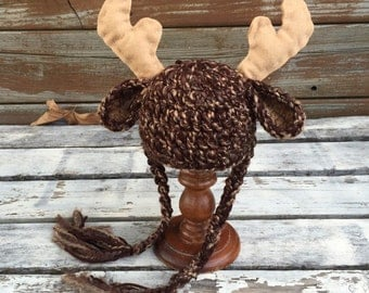 Baby Moose Hat, Baby Boy Prop, Photography Prop, Newborn Baby Moose Hat, Photo Prop, Newborn, Baby, Boy, Baby Moose Hat, Beanie
