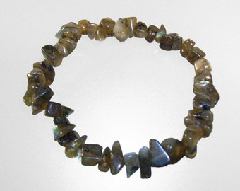 Baroque elastic bracelet Labradorite chips