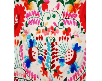 Tapestry/wall hanging/ Mexico/ Hawaiian/ Surf/ Colorful/ Flowers/ Ethnic/deb haugen