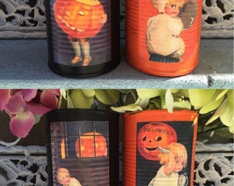 2 Victorian Vintage Style Halloween Decoupage Black & Orange Tin Can Vases Decoration Table Centerpieces Children Pumpkin Party Favors Gift