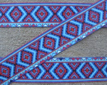 "7/8"" Blue and Red  Ribbon Southwest Multi color Aztec printed grosgrain Ribbon-craft supplies on Etsy 3 yards"