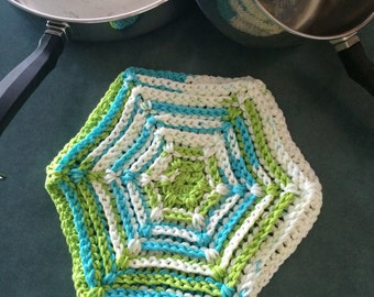 Large Crocheted Hot Pad with Ridges