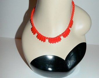 Vibrant Vintage Red Glass Bead Necklace
