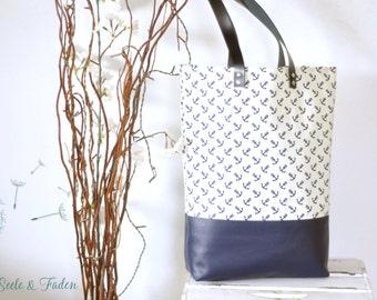 LIVA - small shopper / anchor blue on white