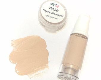 PEBBLE Liquid ORGANIC Foundation - Natural Makeup Vegan Gluten Free - Serum Liquid Minerals Fair Light Skin